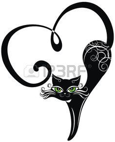 Illustration of Black cat with hearts vector art, clipart and stock vectors. Ima… Illustration of Black cat with hearts vector art, clipart and stock vectors. Crazy Cat Lady, Crazy Cats, Stencils, Black Cat Tattoos, Tattoo Black, Cat Drawing, Vector Art, Art Clipart, Cat Art