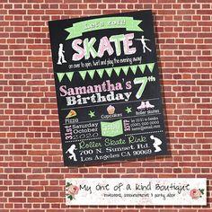 Roller skating birthday invitation roller skates by myooakboutique