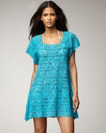 A cute coverup in bright blue. Nanette Lepore Crochet Coverup, Azure. #BGSafeSun