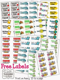 """FREE folder and binder labels.  This freebie is complete with labels for folders, school subject labels, and free labels for school including reading, writer's workshop, math journal, poems, take home folder, science folder, spelling, and more.  To learn more about """"Label Obsessed"""", visit www.tunstallsteachingtidbits.com"""