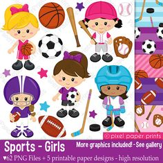 Sport Girls - Clip art and Digital Paper Set - Sports clipart pixelpaperprints USD Girls Clips, Photoshop Elements, Digital Stamps, Digital Art, Project Yourself, Print And Cut, Sport Girl, Stickers, Art Images