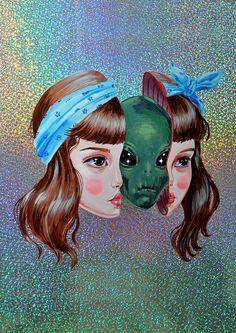 ÚLTIMOS seis alien chica lámina - secreto #1 - edición limitada de 30