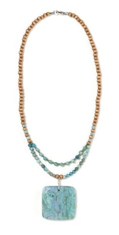 Dyed jasper square pendant and wood bead necklace