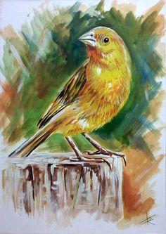 #pintura de pássaro do artista Flávio Ribeiro