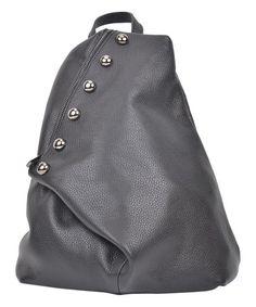 868d003cca40 Luisa Vannini Nero Asymmetrical Leather Backpack