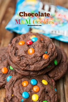 The most AWESOME chocolate m&m cookies I've ever had! My new favorite cookie! ohsweetbasil.com