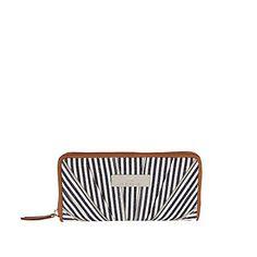 navy stripe zip pleat purse - purses - bags / purses - women - River Island