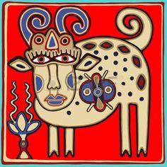 art inhabituelle traditionnelle ukrainienne tribal dans le style de karakoko, folk animaux ethnique, illustration vectorielle photo