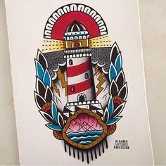 Tatuajes Tattoos, Leg Tattoos, Body Art Tattoos, Sleeve Tattoos, Tattoo Old School, Old School Ink, Dibujos Tattoo, Desenho Tattoo, Traditional Lighthouse Tattoo