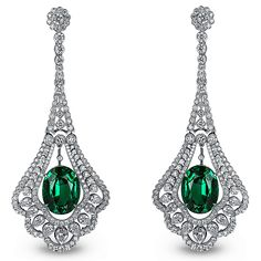 -Emerald Drop Earrings in platinum, set with emeralds and white diamonds by JACOB & CO. Emerald Earrings, Emerald Jewelry, Gems Jewelry, Art Deco Jewelry, High Jewelry, Bridal Earrings, Pearl Jewelry, Vintage Jewelry, Jewelry Design
