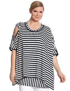 Double-layered soft knit poncho features a modern mix of stripes and sexy cold shoulder cut-out. Boat neckline. lanebryant.com