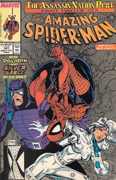 """The Assassin Nation Plot, pt. 2 """"Underwar!""""__ Script by David Michelinie , Art And Cover Art Todd McFarlane , Spider-Man and Paladin fight Life Foundation goons. While Paladin obtains information, Spi"""