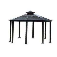 14.5-ft x 14.5-ft x 10.5-ft Aluminum Roof Black Octagon Gazebo