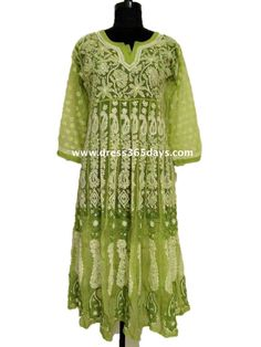 Buy Green Georgette Anarkali with Chikankari Embroidery