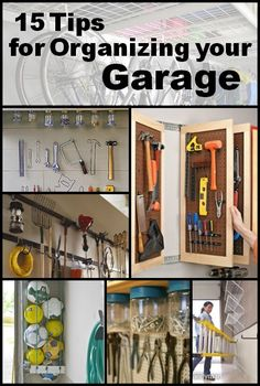 15 Tips for Organizing Your Garage some of these would be practical in a sewing room or a pantry/closet Garage Organisation, Garage Storage Solutions, Shed Storage, Tool Storage, Organization Hacks, Organized Garage, Workshop Organization, Organizing Tools, Workshop Storage