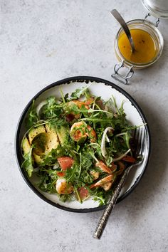 Avocado & Shrimp Salad with Winter Citrus Dressing recipe from Cooking with Cocktail Rings