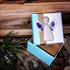 Geschenk Box mit Engel aus Steinen vom Gardasee und Muschel-Flügel 60x60x35mm Ring Verlobung, Godchild, Shell, Lake Garda, Stocking Stuffers, Gift Cards, Valentines Day, Invitations, Birthday