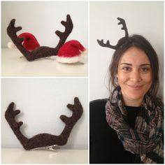 Tiny antler hat by Alison Eder. To order email minimilliner[at]gmail[dot]com   #antler #christmas #hat #needlefelt