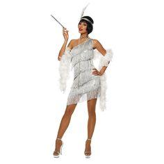 Roaring Adult Womens Silver Dazzling Flapper Gatsby Costume Dress for sale online Roaring 20s Outfits, Roaring 20s Fashion, Roaring Twenties, 1920s Outfits, Flapper Girls, Flapper Dresses, 1920s Party Dresses, Great Gatsby Dresses, 1920s Dress