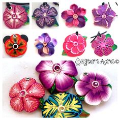 A variety of Polymer Clay Flowers by KatersAcres