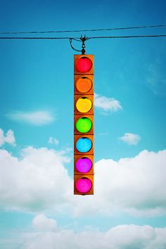 rainbow stop light...uh, Red..Stop.. Orange. ..start slowing....Yellow.... slow.......purple I dunno.