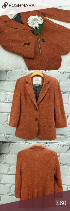 """💞SALE💞 Anthropologie Cartonnier Coral Blazer Fabulous Anthropologie Cartonnier Coral Blazer with 3/4 Sleeves 26"""" from the top of the shoulder to the bottom 18"""" from armpit to armpit 18 1/2"""" Sleeve length 50% Acrylic 37% Polyester 13% Nylon fully lined with 100% Cotton  Super Cute Fall Staple with Jeans and Boots. Great Holiday Color that will match everything Anthropologie Jackets & Coats Blazers"""