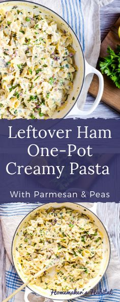 This easy Leftover Ham One-Pot Pasta is a great way to use up leftover ham and makes its own better-for-you magical cream sauce while it cooks. It's a kid-approved easy weeknight dinner. Pasta Recipes, Dinner Recipes, Cooking Recipes, Cooking Hacks, Leftovers Recipes, Cooking Chef, Cooking Gadgets, Cooking Videos, Cooking Tools