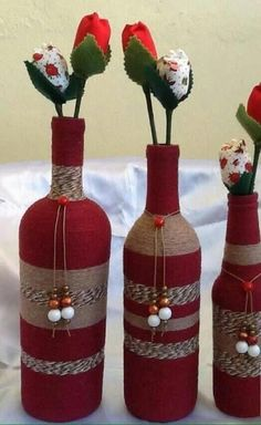 Wine Bottle Crafts – Make the Best Use of Your Wine Bottles – Drinks Paradise Glass Bottle Crafts, Wine Bottle Art, Diy Bottle, Vodka Bottle, Recycled Wine Bottles, Painted Wine Bottles, Christmas Wine Bottles, Wine Craft, Mason Jar Crafts