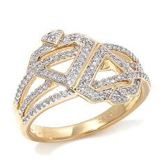Diamonds Unleashed 3-Row Double Diamond Vermeil Ring