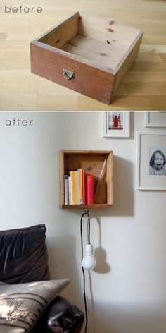 Turn an old drawer into a hanging bedside table.
