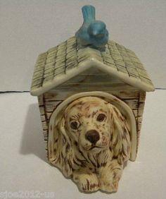 "Vintage McCoy USA Dog House Cocker Spaniel Blue Bird 11"" Cookie Jar 206 ..."