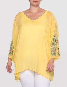 491ca50935559 Johnny Was Embroidered sleeve tunic in Yellow