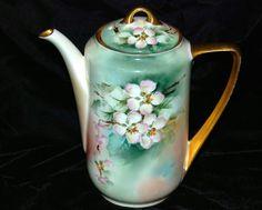 Vintage Hand Painted Floral Chocolate Pot Coffee Pot Gold Trim Antique   eBay