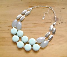 Mint and silver Statement necklace chunky by ThatsmineBoutique, $40.00 (saw on 'Putting Me Together' blog)