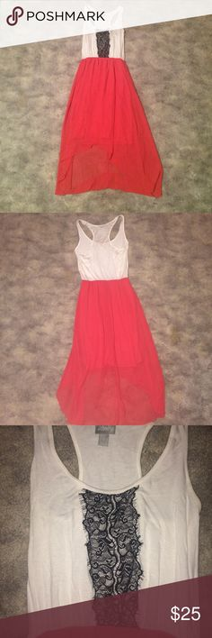 High low dress with lace detailing Super cute high-low dress! It has been worn but it is still in good condition, I just do not wear it anymore. Very soft material Vanity Dresses High Low