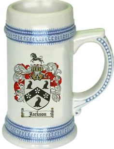 Jackson Coat of Arms / Family Crest stein mug