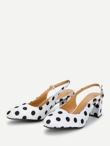 Polka Dot Pumps - Chunky Block Heel