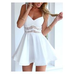Choies White Spaghetti Strap Lace Waist Skater Dress ($20) ❤ liked on Polyvore