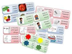 Divers imagiers maternelle et cycle 2 légumes, couleurs, consignes, verbes d'action, prépositions spatiales, moyens de transport, émotions etc