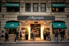 The Algonquin Hotel, New York, NY. You won't find Dorothy Parker and Harold Ross trading bon mots there anymore, but it's worth just walking into the famous Manhattan hotel and checking out the place that was home to the famous Algonquin Round Table.