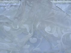 Cream tangier floral flowers window voile net curtains velvet flock organza draping dress lace overlays for tables fabric - Per Metre