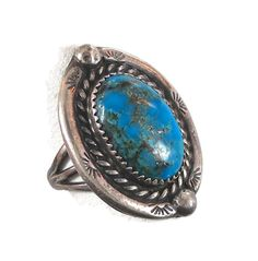 Turquoise sterling silver ring  Vintage 1970s by InVintageHeaven, $55.00