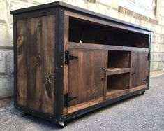 Rustic Industrial barn board entertainment center TV stand Reclaimed Wood (Walnut) - Muebles hierro y madera Industrial Tv Stand, Design Industrial, Rustic Industrial, Industrial Furniture, Rustic Furniture, Rustic Wood, Rustic Cafe, Rustic Restaurant, Primitive Furniture