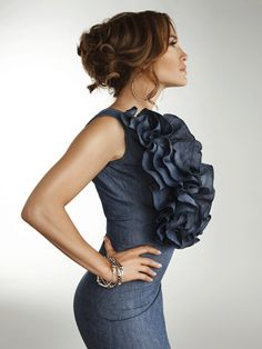 Just thought I would show you these two new pictures of Jennifer Lopez wearing that sexy 830Sign ruffled denim dress in the pages of RedBook Magazine....