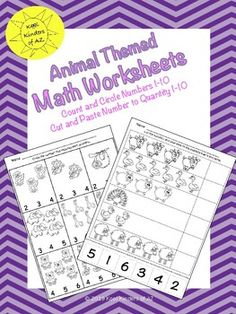 Animal Themed Numbers & Quantities by Kool Kinders of AZ Numbers 1 10, Class Activities, Cut And Paste, Common Core Standards, Preschool Worksheets, Kindergarten Math, Homework, Projects To Try, Students