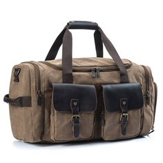 Travel Duffel Bag Canvas Bag PU Leather Weekend Bag Overnight Khaki *** Check out this great product. (This is an affiliate link) #HashTag1