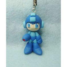 Megaman, Keychain,mobile accessories,llavero,colgante de movil,video juegos,video game,capcom,rockman,fimo,