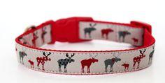 Red Moose Dog Collar / Adjustable / Animal Print by daydogdesigns