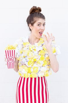 DIY Popcorn Costume, because popcorn is our most favorite treat!