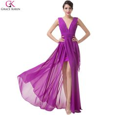 Cheap party gown, Buy Quality evening dress directly from China grace karin dresses Suppliers: Sexy Slit Evening Dresses 2017 Purple Chiffon Formal Grace Karin Dress V-Neck Long Prom Dress Party Elegant Party Gown 6186 Homecoming Dresses Long, Prom Party Dresses, Party Gowns, Dress Party, Long Dresses, Banquet Dresses, Lace Evening Dresses, Dress Lace, R80
